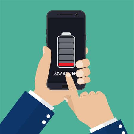 Ilustración de Hand holding smartphone with low battery - Imagen libre de derechos