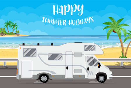 Illustration pour Family traveler truck background - image libre de droit