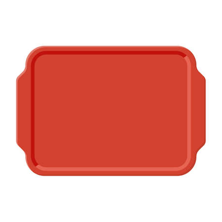 Ilustración de Top view of empty plastic tray, isolated on white background. Vector illustration in flat style - Imagen libre de derechos