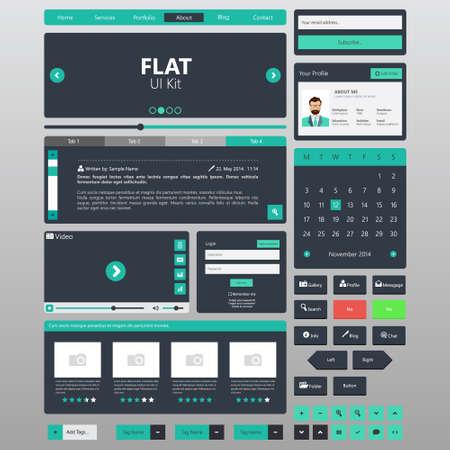 Photo pour Flat Website elements, Ui kits. Vector illustration - image libre de droit