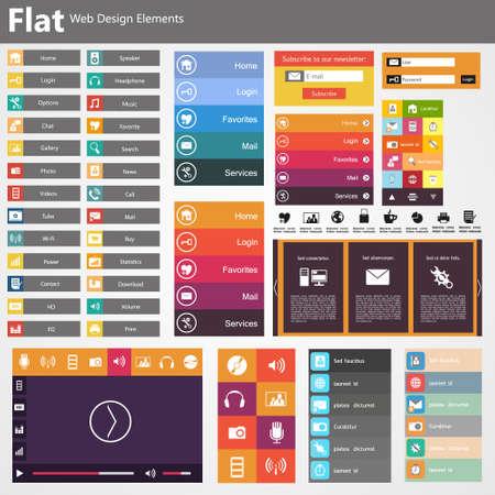 Photo pour Flat Web Design, elements, buttons, icons. Templates for website. - image libre de droit