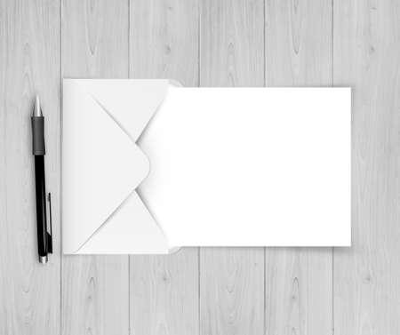Illustration pour Open Envelope With White Paper With Gradient Mesh, Vector - image libre de droit