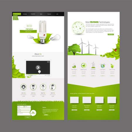 Ilustración de Eco Business One page website design template. Vector Design. - Imagen libre de derechos