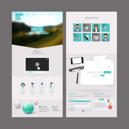 Illustration pour Clean Modern One page website design template. All in one set for website design includes harm one page website template - image libre de droit