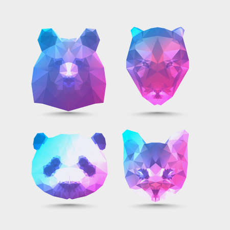 low polygon style trendy animal business logos visual identity for modern triangular geometric style