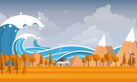 Illustration for Tsunami, Flood Disaster, Vector Illustration. Overflooded Landscape. - Royalty Free Image