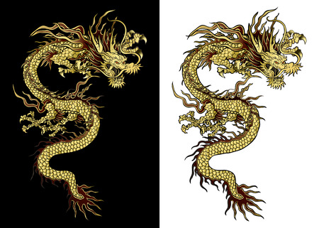 Ilustración de vector illustration Traditional Chinese dragon gold on a black background and a white background. Isolated object. Template design is suitable for any illustrations. - Imagen libre de derechos