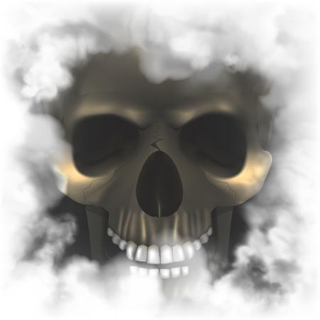 Ilustración de Realistic skull in a smoky frame - Imagen libre de derechos
