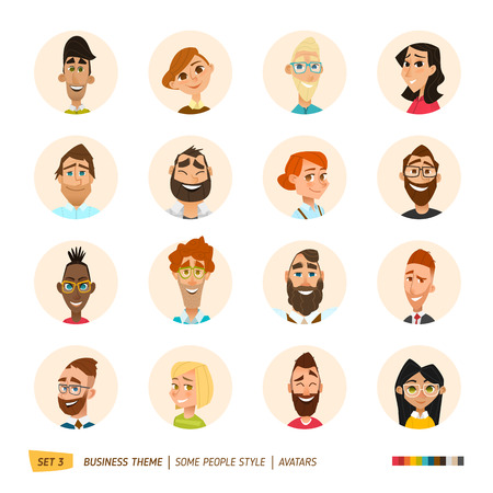 Photo pour Cartoon business people avatars set. EPS 10 - image libre de droit