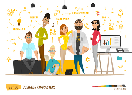 Ilustración de Business characters scene. Teamwork in modern business office - Imagen libre de derechos