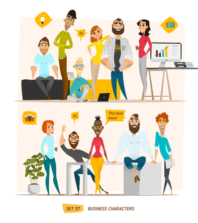 Illustration for Business characters scene. Teamwork in modern business office - Royalty Free Image