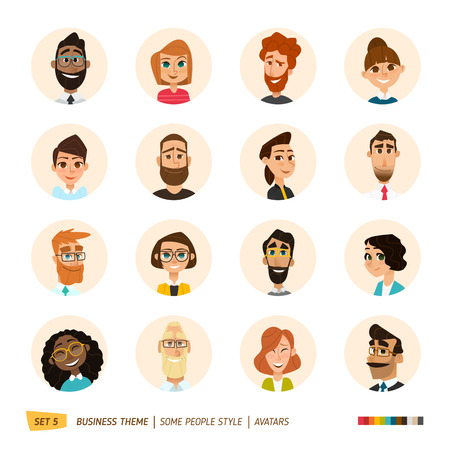Illustration pour Cartoon business people avatars set. - image libre de droit