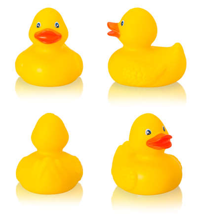 Photo pour Toy rubber duck isolated on white  background - image libre de droit