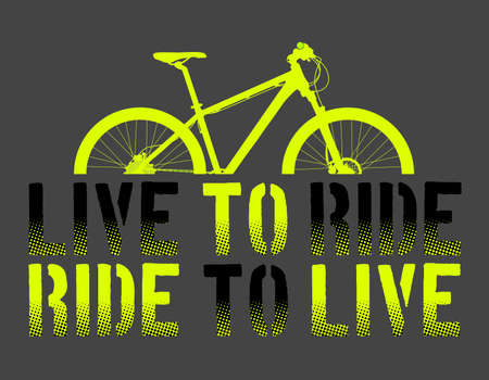 Ilustración de Green Mountain Bike or Bycicle with live to ride, ride to live sentence, and gray background vector illustration, vector art. ideal for stamps and t-shirts - Vector - Imagen libre de derechos