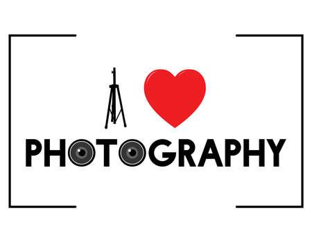 Ilustración de I Love Photography vector illustration with some representative elements of photography - Imagen libre de derechos