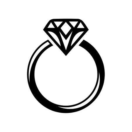 Illustration for diamond ring  icon - Royalty Free Image
