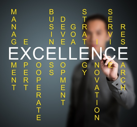 business man writing teamwork concept by crossword of relate word such as expert, development, strategy, research etc.