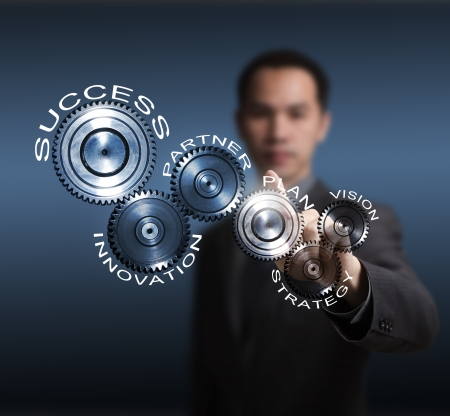 business man driving business process gear of vision - strategy - plan - partner - innovation - success