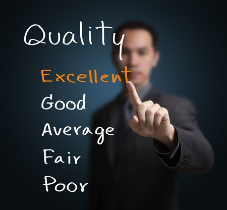 Photo for business man evaluate excellent quality - Royalty Free Image