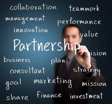 business man writing partnership concept