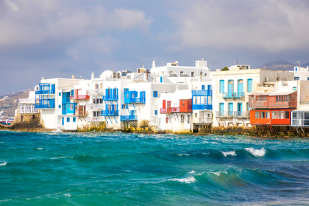 Photo for Famous Mykonos town colorfull little venice, Mykonos island, Cyclades in Greece - Royalty Free Image