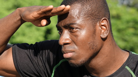 Photo for Black Male Athlete Searching - Royalty Free Image