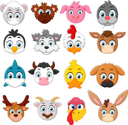 Illustration pour Cartoon animal head collection set - image libre de droit
