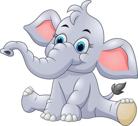 Illustration pour Adorable baby elephant sit - image libre de droit