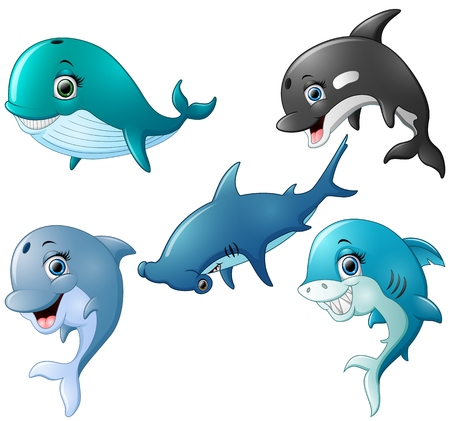 Illustration for Fish cartoon set collection - Royalty Free Image