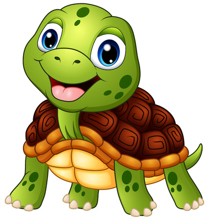 Illustrazione per Cute turtle cartoon smiling - Immagini Royalty Free