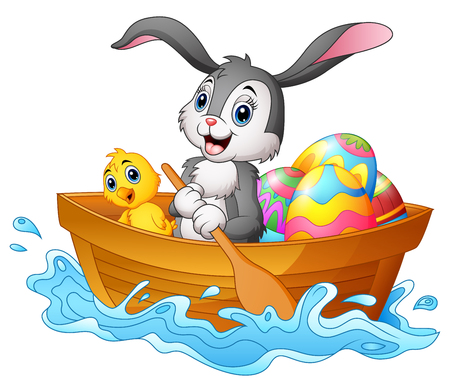 Illustration pour Vector illustration of Easter bunny rowing boat with chicks and decorated easter eggs - image libre de droit