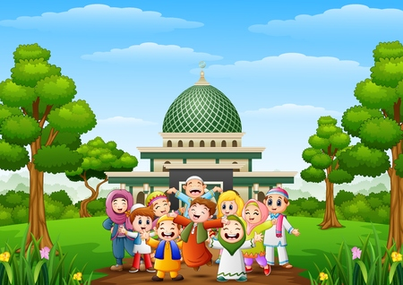 Illustration for Vector illustration of Happy cartoon kids celebrate eid mubarak with islamic mosque in the forest - Royalty Free Image