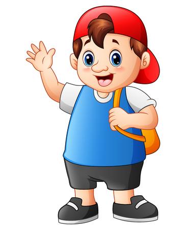 Illustration pour Vector illustration of Fat school boy cartoon go to school - image libre de droit