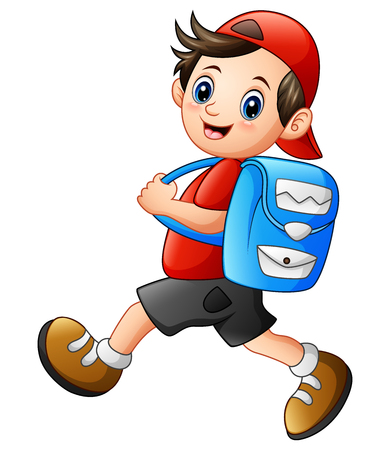 Illustration pour Vector illustration of Cute school boy cartoon going to school - image libre de droit