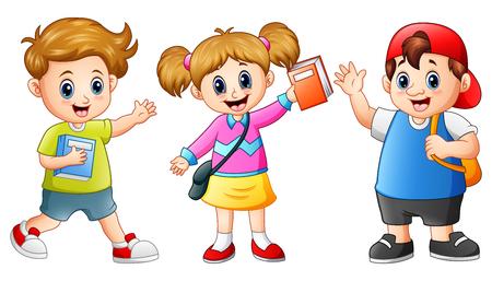 Ilustración de Vector illustration of Happy school kids cartoon - Imagen libre de derechos