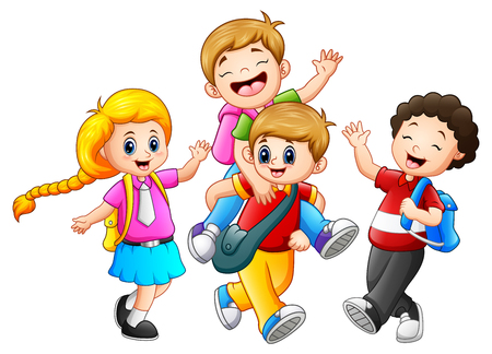 Illustration pour Vector illustration of Happy childrens cartoon - image libre de droit