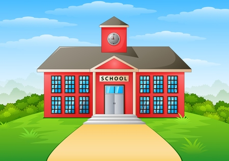 Illustration pour Vector illustration of School building and path - image libre de droit