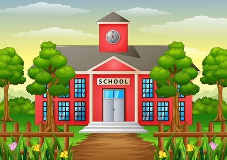 Illustration pour Vector illustration of Cartoon school building with green yard - image libre de droit