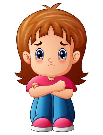 Ilustración de Vector illustration of Sad girl cartoon sitting alone - Imagen libre de derechos