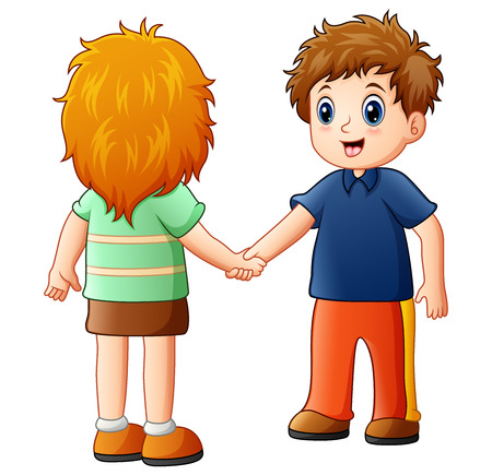 Illustration for Vector illustration of Cartoon boy and girl shaking hands - Royalty Free Image