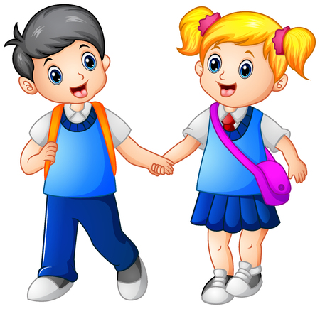 Illustration for Vector illustration of Cartoon girl and boy go to school together - Royalty Free Image