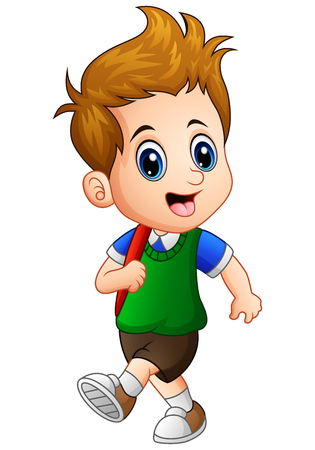 Illustration for Vector illustration of Cute little boy go to school - Royalty Free Image
