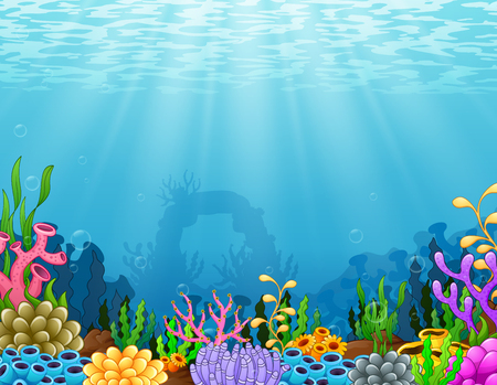 Illustration pour Vector illustration of Underwater scene with tropical coral reef - image libre de droit