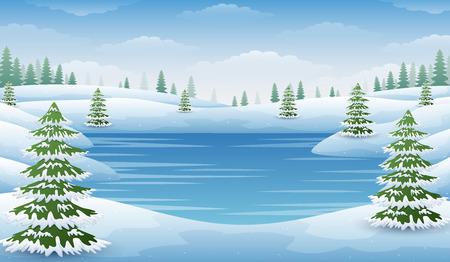 Ilustración de Vector illustration of Winter landscape with frozen lake and fir trees - Imagen libre de derechos