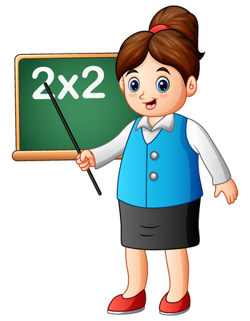 Illustration pour Vector illustration of Cartoon female teacher pointing on blackboard the lesson of mathematics - image libre de droit