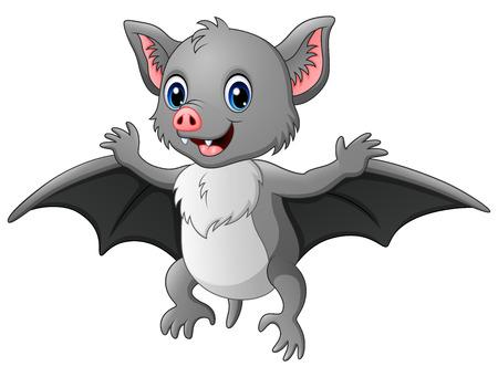 Ilustración de Vector illustration of Cute cartoon bat flying - Imagen libre de derechos