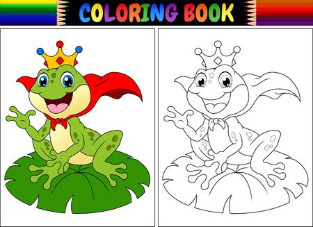 Illustration pour Coloring book king frog cartoon vector illustration. - image libre de droit