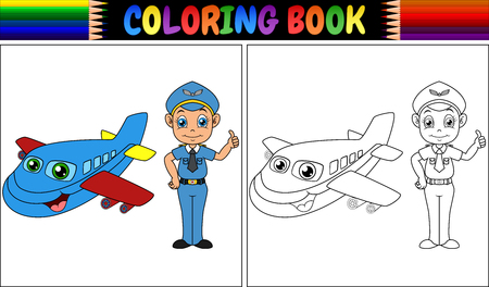 Illustration pour Vector illustration of Coloring book with pilot kid and airplane - image libre de droit