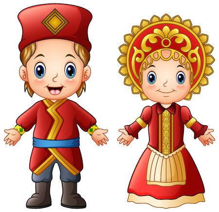 Illustration for Vector illustration of cartoon Russian couple wearing traditional costumes. - Royalty Free Image