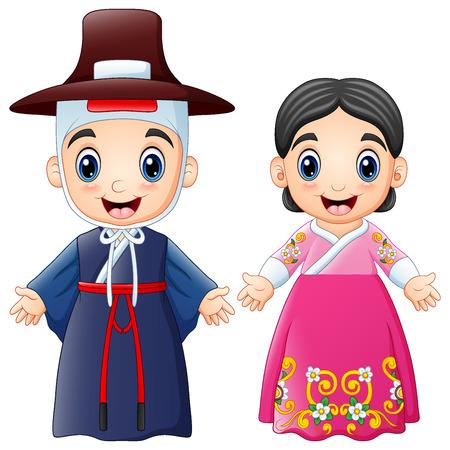 Illustration pour Vector illustration of Cartoon Korean couple wearing traditional costumes - image libre de droit